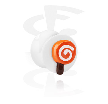 White Flared Plug with 3D Lollipop