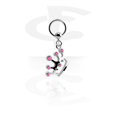 Kółka do piercingu, Ball Closure Ring with Charm, Surgical Steel 316L