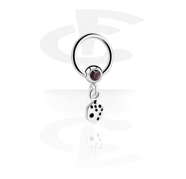 Jeweled Ball Closure Ring with Charm