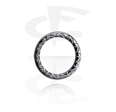 Laser Etched Black Smooth Segment Ring