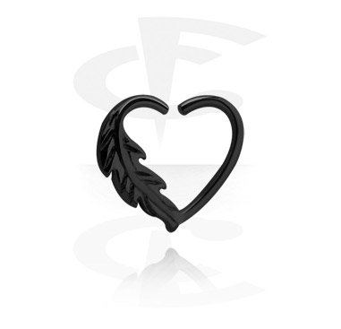 Black heart-shaped Continuous Ring