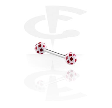 Steel Barbell with Diamonds Playing Card Balls