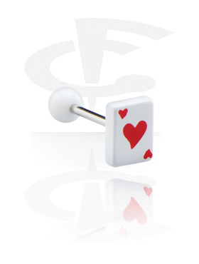 "Barbell with Playing Card ""Hearts"""