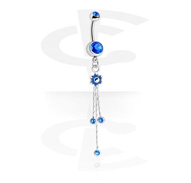 Double Jewelled Curved Barbell with Dangle