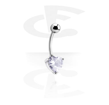 Internally Threaded Curved Barbell with Crystal Heart