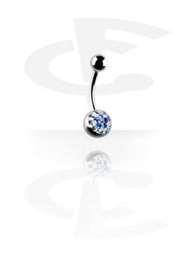 Curved Barbell with Flower Glitzy Ball