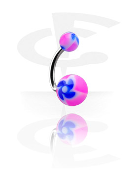 "Curved Barbell with ""New Twister"" Flower Balls"