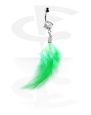 Trendy Curved Barbell with Feather