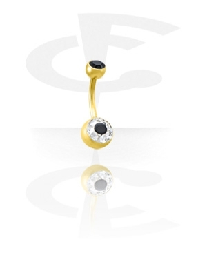 Gold Plated Crystaline Double Jeweled Navel Banana