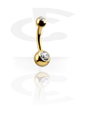 Gold-Plated Double Jewelled Curved Barbell