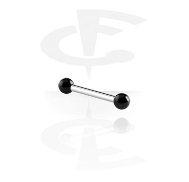 Internally Threaded Micro Barbell with Black Steel Balls