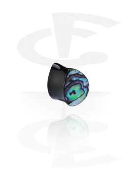 Tear Drop Flared Plug with Shell Inlay(Horn)