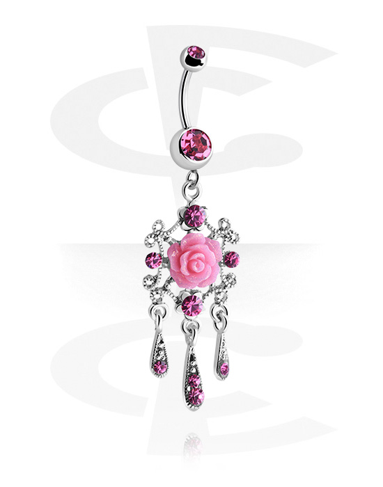 Curved Barbells, Curved Barbell with rose design, Surgical Steel 316L