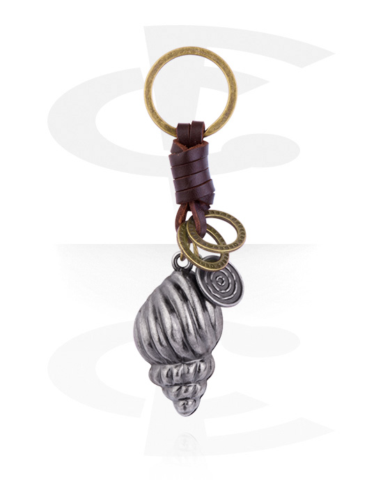 Keychains, Keychain with Shell Design, Alloy Steel, Leather