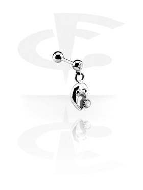 Jeweled Micro Barbell med Charm