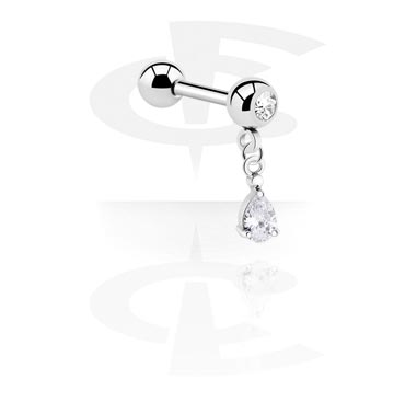 Jeweled Micro Barbell with Charm