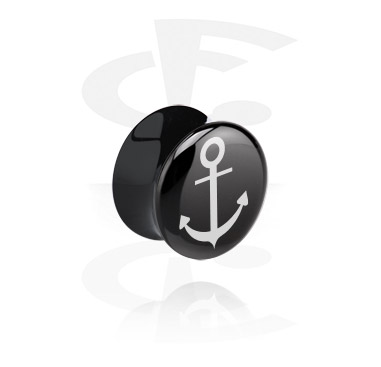 Tunnels & Plugs, Plug double flared avec Motif ancre, Acrylique