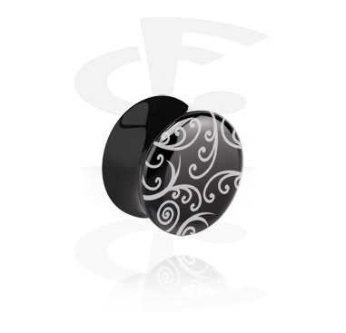 Black Flared Plug –Ornamental Pattern