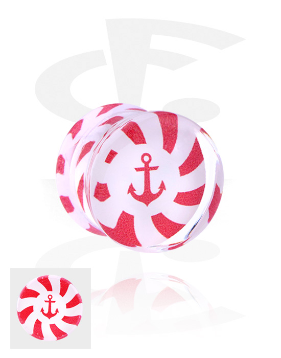Tunnelit & plugit, Double Flared Plug kanssa Anchor Design, Acrylic