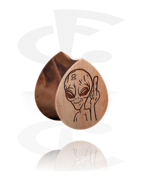 Tunnels & Plugs, Tear-Shaped Double Flared Plug with Alien Design , Wood