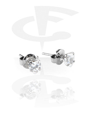 Prong Set Steel Ear Studs (Heart)
