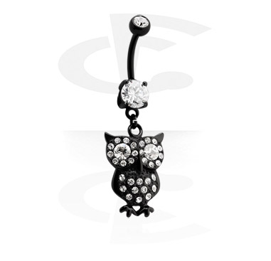 Black Banana with Owl Charm<br/>[Surgical Steel 316L]