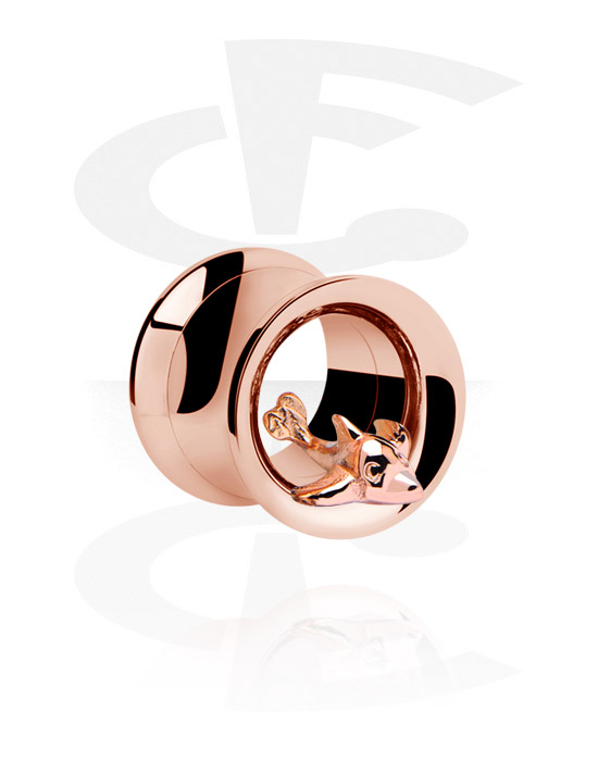 Tunnelit & plugit, Double Flared Tunnel, Rosegold Plated Surgical Steel 316L