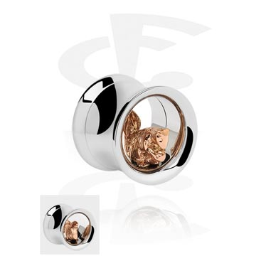 Double Flared Tube with 3D Squirrel<br/>[Surgical Steel 316L/Rosegold]