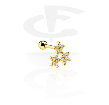 Helix / Tragus, Tragus Piercing with star attachment, Gold Plated Surgical Steel 316L