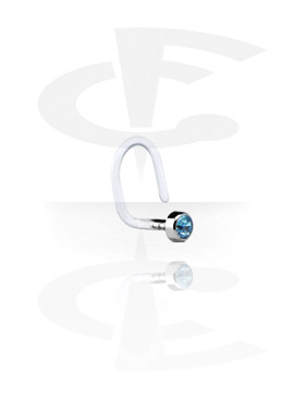 Internal Curved Nose Stud with Titanium Jeweled Disk